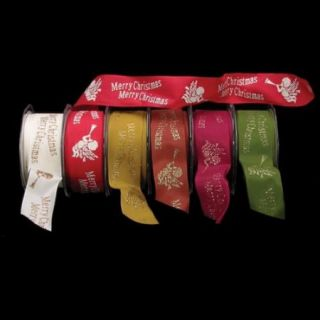 "Set of 1 Ivory Taffeta with Merry Christmas Print Wired Craft Ribbon 1.5"" x 27 Yards"