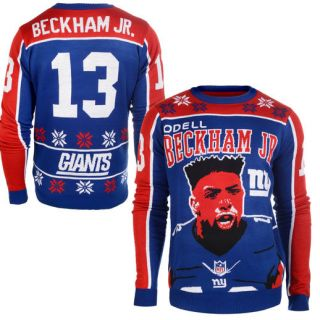Klew Odell Beckham Jr New York Giants Royal Name & Number Ugly Sweater