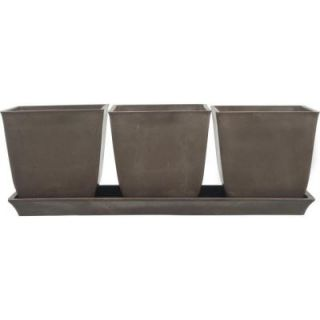 Pride Garden Products 13 in. L x 4.5 in. W x 4.5 in. H Erbe Chocolate Brown Terrain Plastic Pot Set with Tray D817A