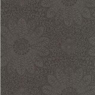 56 sq. ft. Tribe Black Modern Floral Scroll Wallpaper 301 66952