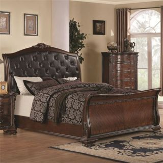 Coaster Furniture 202261Q Maddison Queen Sleigh Bed with Upholstered Headboard in Warm Brown Cherry