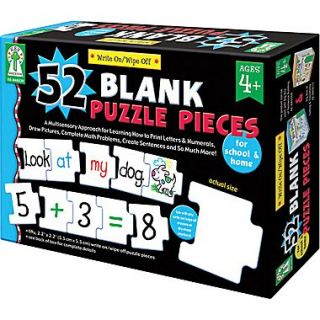 Key Education Write On/Wipe Off: 52 Blank Puzzle Pieces Manipulative