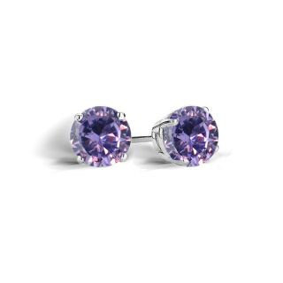 Icz Stonez Sterling Silver Violet Cubic Zirconia Round Stud Earrings