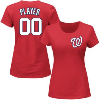 Washington Nationals Majestic Womens Custom Roster Name & Number T Shirt   Red