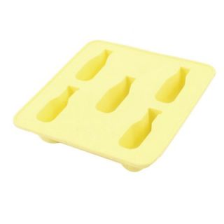 Creative Rubber Wine Bottle Shaped 5 Compartment Cake Maker Ice Tube Tray Yellow