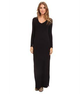 Michael Stars L S V Neck Maxi Dress W Side Slits Black