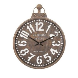 "32.5"" North Station Distressed Cutwork Face Vintage Style Parisian Wall Clock"