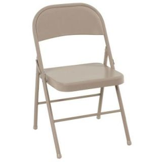 Cosco All Steel Folding Chairs in Antique Linen (4 Pack) 14711ANT4E