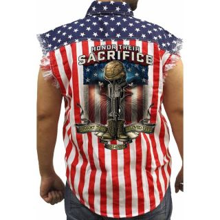 Mens Sleeveless Denim Shirt USA Flag Honor Their Sacrifice Veteran