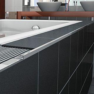 Blanke Cubeline 96 x 1 Counter Rail Tile Trim in Aluminum Satin Silver Anodized