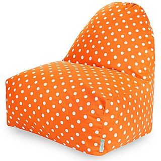 Majestic Home Goods Indoor Small Polka Dot Cotton Duck/Twill Kick It Bean Bag Chair, Tangerine