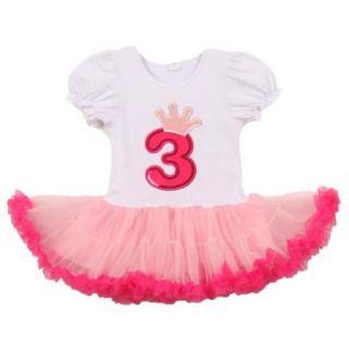 Little Girls White Pink Number Crown Applique Birthday Tutu Dress 3 Years