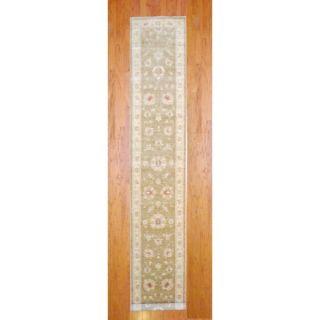 Herat Oriental Indo Hand knotted Tabriz Ivory/ Light Green Wool Rug (2