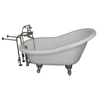 Barclay Products 5.6 ft. Acrylic Ball and Claw Feet Slipper Tub in White with Brushed Nickel Accessories TKADTS67 WBN2