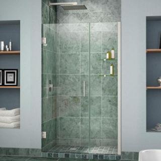 DreamLine Unidoor 48 to 49 in. x 72 in. Semi Framed Hinged Shower Door in Brushed Nickel SHDR 20487210CS 04