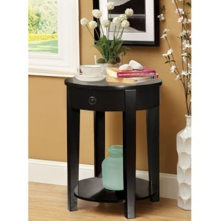 Furniture of America Venzoli Round Top Side Table with Storage Drawer