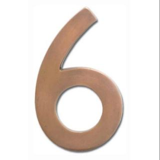 """Floating House Number """"6"""" in Antique Copper Finish (2.5 in. W x 4 in. H (0.17 lbs.))"""