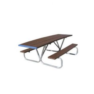 Eagle One C355H Wheelchair Accessible Picnic Table with Recycled Plastic Top and Steel Frame
