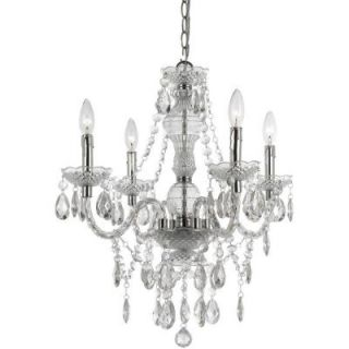 AF Lighting Naples 4 Light Chrome Mini Chandelier with Clear Plastic Bead Accents 8350 4H