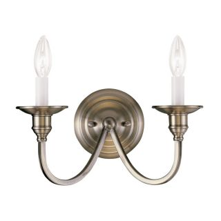 Livex Lighting Cranford 13 in W 2 Light Antique Brass Candle Hardwired Wall Sconce