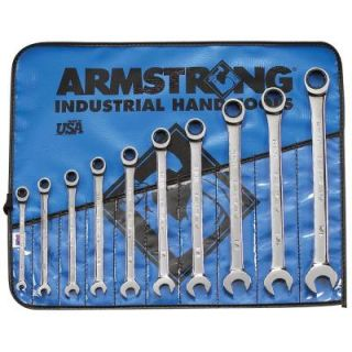 Armstrong SAE 12 Point Combination Ratcheting Wrench Set with Wrench Roll (10 Piece) 25 667