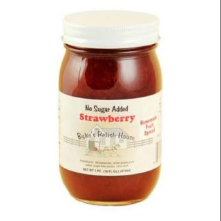 Byler's Relish House Homemade No Sugar Added Strawberry Jam Fruit Spread 16 oz.