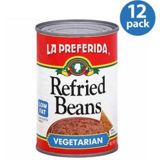 La Preferida Vegetarian Refried Beans, 16 oz, (Pack of 12)