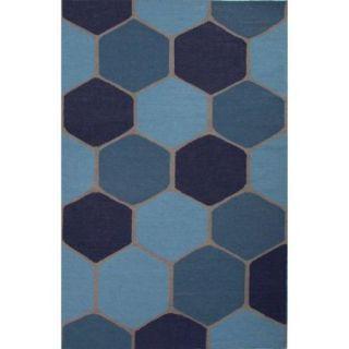2' x 3' Light Blue, Steel Blue and Navy Blue Beehive Flat Weave Geometric Wool Area Throw Rug