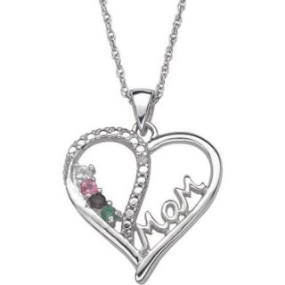 Personalized Birthstone Diamond Accent Sterling Silver Heart Mom Pendant, 20""