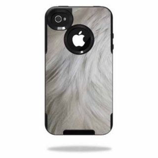Mightyskins Protective Vinyl Skin Decal Cover for OtterBox Commuter iPhone 4 Case Cell Phone wrap sticker skins White Fur