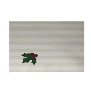 Holly Tones Decorative Holiday Stripe Print Ivory Cream Indoor/Outdoor