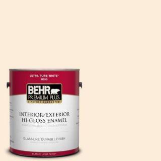 BEHR Premium Plus 1 gal. #320C 1 Cotton Tail Hi Gloss Enamel Interior/Exterior Paint 805001