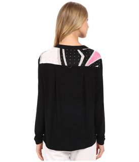 Jamie Sadock Wham Print Long Sleeve Crunchie Front Top Jet Black And Enchantress