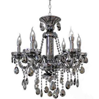 LightUpMyHome 6 Light Smoke Grey Crystal Candelabra Chandelier