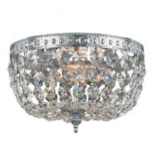 Crystorama 710 CH GT Richmond 2 Light Flush Mount in Polished Chrome with Golden Teak Crystal