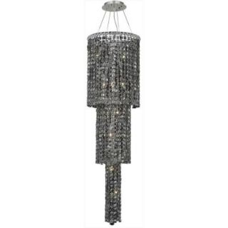 Elegant Lighting 12 Light Chrome Chandelier with Silver Shade Grey Crystal EL2031G54C SS/RC