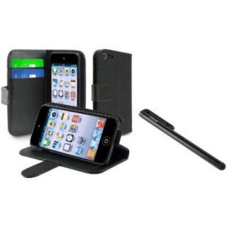 Insten For Apple iPod touch 6 6G 6th 5 5G 5th Wallet Leather Case w/ Card Holder, Black+Black Pen