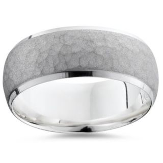 Mens 950 Platinum 7mm Hammered Wedding Ring Band New