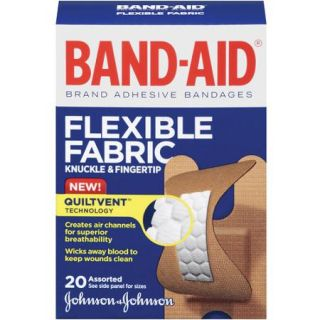 Band Aid Brand Flexible Fabric Knuckle and Fingertip Adhesive Bandages, Assorted Sizes, 20 Count