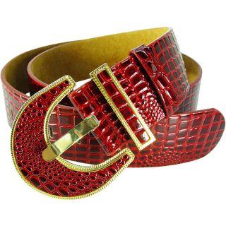 Vecceli Italy Womens Red Croc skin Embossed Cowhide Belt