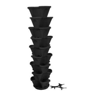 Nancy Jane 12 in. Self Watering Black Stacking Planter Set (9 Pack) P10629PK