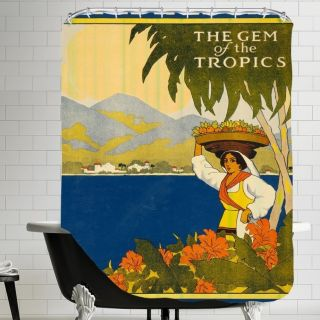 Vintage Jamaica Travel Poster Shower Curtain by Americanflat