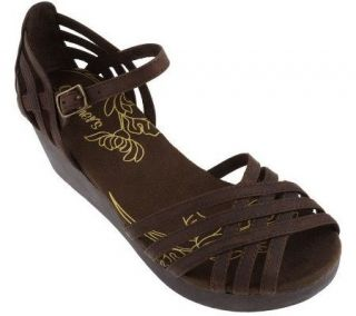 Skechers Leather Open Toe Multi Strap Wedge Sandals —