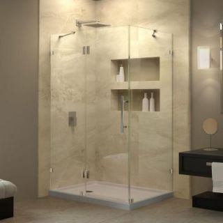 DreamLine QuatraLux 34 5/16 in. W x 34 5/16 in. D x 72 in. H Frameless Hinged Shower Enclosure in chrome SHEN 1334340 01