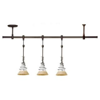 Sea Gull Lighting Ambiance Transitions 3 Light Antique Bronze Pendant Track Lighting Kit with Ember Glow Shade 94512 71