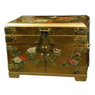 Oriental Furniture Daisi Jewelry Box   Gold   Jewelry Boxes