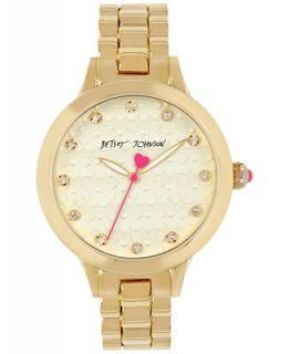 Betsey Johnson Womens Gold Tone Stainless Steel Bracelet Watch 38mm