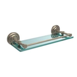 Allied Brass Que New 16 in. W x 16 in. L Tempered Glass Shelf with Gallery Rail in Antique Pewter QN 1/16 GAL PEW