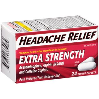 Headache Relief Extra Strength Acetaminophen Pain Reliever/Pain Reliever Aid Coated Caplets, 24 count (Pack of 2)