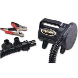 Rave Sport Ski and Tow Ropes 12V High Pressure Inflator/Deflator with Alligator Clips, Black